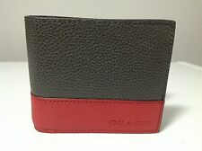 Coach Men's Camden Grey/Red Leather Compact Id Wallet F74634