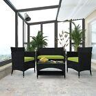 Us 4 Pcs Patio Furniture Outdoor Garden Conversation Wicker Sofa Set