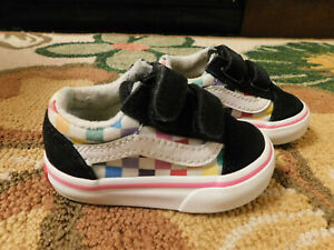 EUC Toddler Black Suede & Rainbow Checker board VANS Sneakers sz 3 barely Worn!