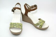 """CROCS """"LEIGH II"""" TAN WEDGE WITH FLORAL STRAPS DUAL COMFORT WOMEN'S SIZE 8"""