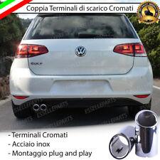 COPPIA TERMINALE SCARICO CROMATO LUCIDO ACCAIO INOX VW GOLF 7 VII SCARICO DOPPIO