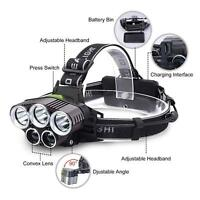 8000LM 5 LED CREE XM-L T6 LED Headlamp Head Light Flashlight Recharge Torch Lamp