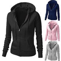 Women Solid Hoodies Fleece Sweatshirt Hooded Coat Casual Zipper Jacket Outwears
