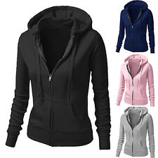 Women's Plain Hoodies Fleece Sweatshirt Hooded Coat Casual Zipper Jacket Outwear