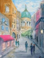 """St Paul"" ORIGINAL signed watercolor painting Europe travel architecture street"