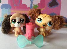 ~♥~Littlest Pet Shop x 2~♥~#2413#2421 Cream Brown Fuzzy Puppy Dog Accessories