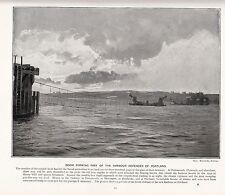 1897 Victorien Imprimé~ Boom Formant Pièce de The Portuaire Défenses de Portland