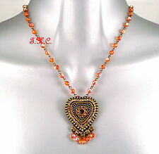 Vintage French Deco Chic Indian Orange Heart Aurora Pendant w/ Swarovski Crystal