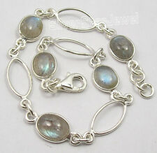 """925 Pure Silver BLUE FLASH LABRADORITE HANDCRAFTED Bracelet 8"""" NEW GIFT"""