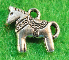 10Pcs. Tibetan Silver 2-Sided HORSE Charms Pendants Earring Drops Findings HR29