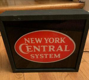 Vintage New York Central System Railroad Light, old brown cord, WORKS