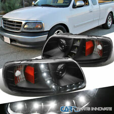 Ford 97-03 F150 97-02 Expedition Pickup Black LED DRL Projector Headlights Lamps