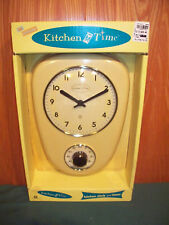 NEW FACTORY PACKAGED  KITCHEN TIME RETRO STYLE MELLOW YELLOW WALL CLOCK