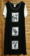 JESSICA HOWARD BLACK AND WHITE SAFARI IMAGES SIZE 16 MAXI DRESS MADE IN USA