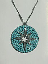 "Black Rhodium Sterling Silver 925 Turquoise Circle Star Pendant on 15-17"" Chain"