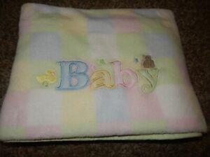 LN Baby Connection Duck Bear Pastel Squares Blocks plush Crib blanket Lovey