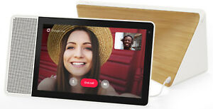 """New Lenovo 10"""" Smart Display with Google Home Assistant -White Front/Bamboo Back"""