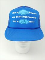 """Chevy Mesh Trucker Snapback Hat """"This is Chevy Country...Ford Rust"""" Blue Cap"""