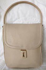 Edle GOLDPFEIL Henkeltasche Handtasche Beige Vintage Tragetasche Tasche Leder