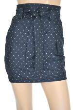 LADAKH SZ 8 WOMENS Navy Blue & Beige Polka Dot Sash Tie Belt Short Mini Skirt