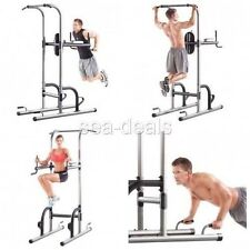 Pull Up Dip Station Push Body Workout Vertical Knee Bar Fitness Exercise Stand