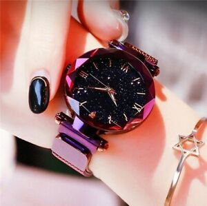 Women's Starry Sky Magnetic Mesh Luxury Watch Rose Gold Rhinestone Ladies Watch