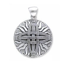 Sterling Silver Sunray Medallion St. Brigid's Celtic Woven Straw Cross Pendant