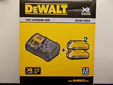 Dewalt dcb115d2 CARGADOR + 2x Batería de ión litio 18v / 2,0Ah DCB 115 D2 dcb115
