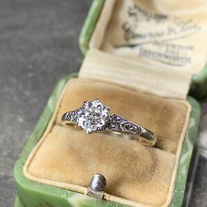 Art Deco Platinum & 9ct Yellow Gold Diamond Engagement Ring C.1920's Size UK L