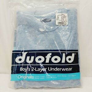 Duofold Boys 2-Layer thermal Underwear blue Shirt Crew Neck Small 6-8  NWT