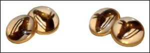 ANTIQUE ESSEX GLASS GOLD PALTED CUFFLINKS WITH HORSES, SIGNED CB