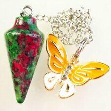 Ruby in Fuchsite Pendulum & Tibetan Golden Butterfly Pendant Bead S67598