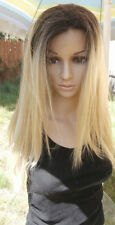 Ombre Dark Roots To light mixed Blonde Lace Front Wig 22'' human hair blend.