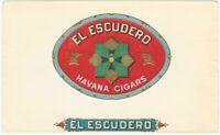 El Escudero Vintage Cigar Box Label w/ Green & Silver Emblem on Red