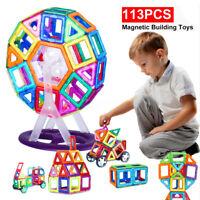 113PCS Magnetic Toy Building Block Set 3D Tiles DIY Toy Gift For Kid Boy Girl AU