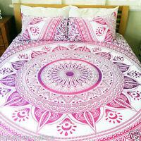Indian Cotton Mandala Quilt Duvet Cover Bedding Queen Size Doona Cover Bed Set