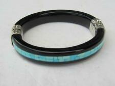 JAY KING Sterling Silver Black Agate & Inlaid Turquoise Hinged Bracelet