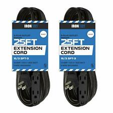 2 Pack of 25 Ft Extension Cords with 3 Electrical Power Outlets - 16/3 Durable