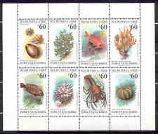 Chile 1992 Scott # 1010 a-h Sheetlet 8 stamps Easter Island Marine Flora & Fauna
