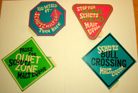 Set of 4 Mod Schlitz Malt Liquor Bull Neon Advertising Lg Stickers New NOS 1970s