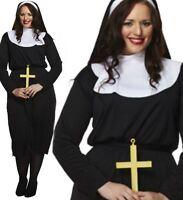 LADIES PLUS SIZE RELIGIOUS NUN FANCY DRESS COSTUME HEN NIGHT HOLY SISTER