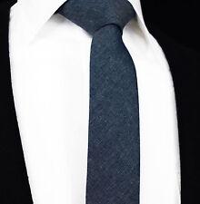 Mens Tie Dark Blue Plain Cotton Skinny Necktie Gift