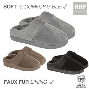 Ladies Mule Slippers Womens Slip On Sheepskin fluffy comfy UK size 3 4 5 6 7 8
