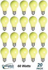 20 x YELLOW Coloured Party / Festoon Light Globes Bulbs Lamps 60W E27 Screw A60