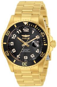 Invicta Men's Pro Diver Quartz Black Dial Gold Tone Stainless Steel Watch 33271