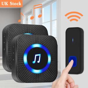 Wireless Door Bell Home Doorbell UK Plug In Cordless Loud Chime LED 52 Tunes New