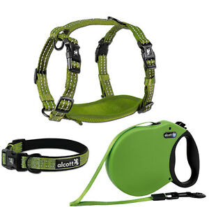 alcott Adventure Retractable Dog Leash or Harness or Collar - Green S - M - L