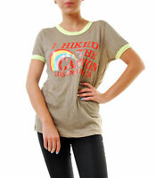 Wildfox Women's Hiked Canyon Ringer Tee Size S Brown