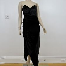 Preen Thornton Bregazzi Dress Black Velvet Strapless Evening Size Small