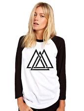 Geometric Interlocking Triangles Maze Shape Print Hipster Womens Baseball Top